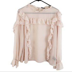 Who What Wear Pink Ruffle Blouse